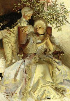 "J.C. LEYENDECKER The Courtship,  Oil on Canvas 22"" x 15.5"""