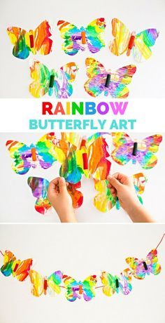 Rainbow Marbled Butterfly Pasta Art. A vibrant spring art project for kids!