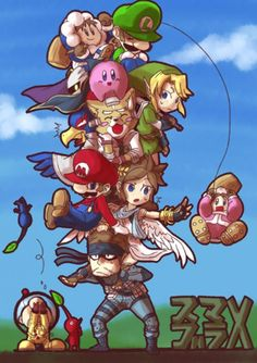 Ice Climbers (Popo & Nana), Olimar & Pikmin, Link, Solid Snake, Falco, Luigi, Kirby, Mario, Pit and Fox.