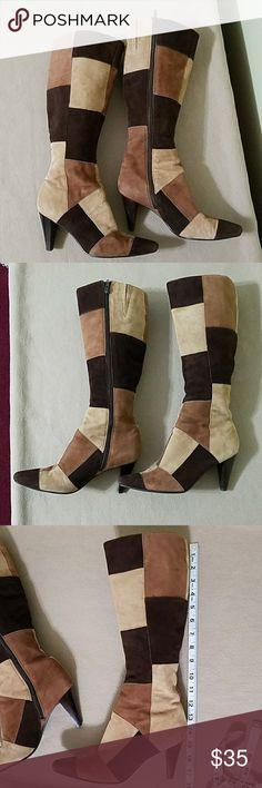 124c83598e5670 Bandolino patchwork heeled boots Bandolino patchwork heeled boots. In great  used condition has one spot. 3 Inch HeelsShoes ...