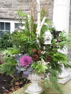 22 Beautiful Fall Planters for Easy Outdoor Fall Decorations 22 gorgeous fall planters for Thanksgiving & fall decorations: best fall flowers for pots, & great autumn planter ideas with mums, pumpkins, kale, & more! - A Piece of Rainbow Christmas Urns, Christmas Planters, Fall Planters, Outdoor Christmas, Christmas Design, Winter Container Gardening, Container Plants, Summer Garden, Winter Garden
