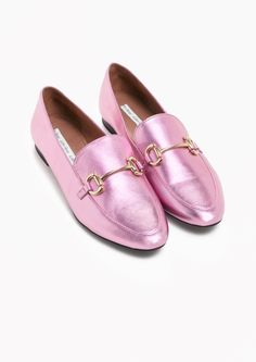 & Other Stories image 2 of Horsebit Buckle Loafers in Metallic Pink