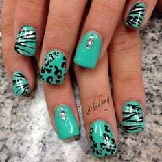 Blue nails with black and silver accents Get Nails, Love Nails, Pretty Nails, Hair And Nails, Manicure Gel, Leopard Nails, Aqua Nails, Zebra Nails, Cool Nail Designs