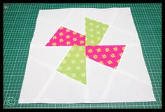Going Round The Twist - Mini Tute - The Littlest Thistle Since I wanted 2 tone twists, I realised that my centre square needed to be half of one colour and half of the other.  Now because of how this is cut out, the squares need to be a wee bit bigger than if they were going to be made the regular way, so for the large template, my measurements were like this:...