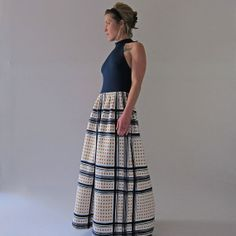 1960s Full Length Sleeveless Gown // Cole of California Long Full Skirted Dress // Medium on Etsy, $124.00