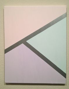 metallic silver + pastel geometric acrylic on canvas painting