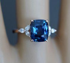 Trillium Engagement ring by Eidelprecious. Green Sapphire Engagement Ring, Peach Sapphire, Pear Diamond, Diamond Rings, Cushion Ring, Diamond Settings, White Gold, Bling, Jewels