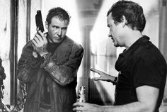 Harrison Ford and director Ridley Scott in Blade Runner (1982).