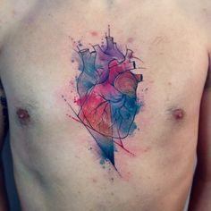 by Paulo Victor Skaz Body Art Tattoos, Cool Tattoos, Heart Tattoos, Tatoos, Rn Tattoo, Anatomical Heart, Tattoo Inspiration, Tattoo Artists, Tatting