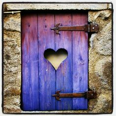 Worn wood window shutter with cutout heart and rusted iron hinges. Envision red building with purple shutters. Cutout heart would show red color. Heart In Nature, Heart Art, I Love Heart, Heart Pics, Happy Heart, Photo Heart, Fairy Doors, All Things Purple, Belle Photo