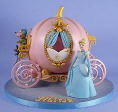 Cinderella cake created by Danni's Cakes Baby Girl First Birthday, Birthday Cake Girls, Disney Princess Decorations, Cinderella Birthday, Cinderella Cakes, Carriage Cake, Princess Cookies, Cinderella Carriage, Baby Girl Cakes