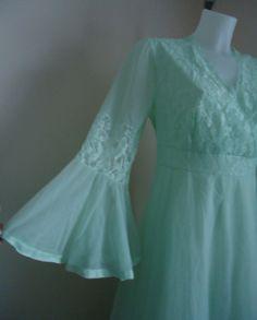 Vintage Silfra Pale Mint Green Chiffon Nightgown by MadMakCloset, $65.30