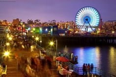 Santa Monica Pier in Santa Monica, California.  Go to www.YourTravelVideos.com or just click on photo for home videos and much more on sites like this.