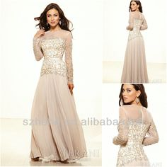 Find More Mother of the Bride Dresses Information about Free shipping CW1529 Elegant beige generous beaded a line chiffon long mother of the bride dress with sleeves,High Quality dress abaya,China dress tuxedo Suppliers, Cheap dress like old lady from JM.Bridals on Aliexpress.com