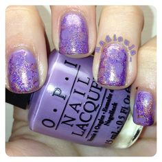 Water spotted nails using OPI Planks a Lot as a base with Color Club Eternal Beauty and Cosmic Fate.