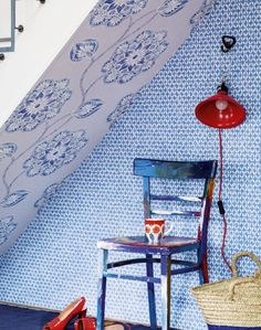 Blue modern hallway with patterned wallpaper