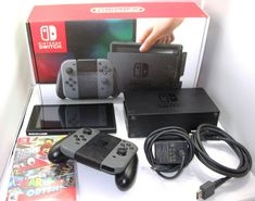 Nintendo Switch 32GB Gray Console with Gray Joy Cons Box and Super Mario Odyssey #Nintendo