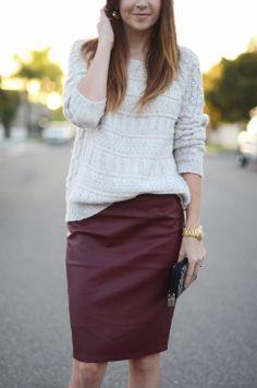 Cozy Sweater + Burgundy Vegan Leather