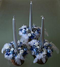 Vánoční svícínky modrobílostříbrné - na přání