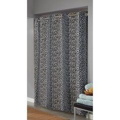 Hookless Animal Print Fabric Shower Curtain, Black/White