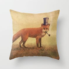 Crazy Like a Fox  Throw Pillow by Terry Fan - $20.00