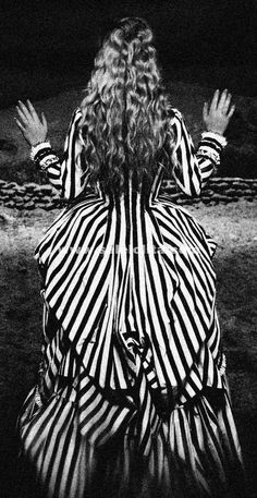 Newest Katrina Sleepy Hollow Colonial Polonaise Striped Gothic Victorian Dress Striped Bustle Dress Medieval Period Costume