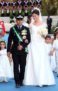 Jordan's Prince Rashid bin El Hassan walks with his bride Princess Zeina during their wedding ceremony at Bassman Palace in Amman, July REUTERS/Yousef Allan/Royal Palace Royal Wedding Gowns, Royal Weddings, Dream Wedding Dresses, Wedding Wall, Wedding Ceremony, Wedding Decor, Wedding Magician, Jordan Royal Family, Première Communion