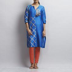 Royal Blue Cross Design Chanderi Kurta with Tassels on Front Neck Kurta Designs Women, Blue Cross, Cross Designs, Royal Blue, Tassels, Shirt Dress, Suits, Dresses, Fashion