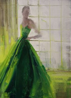 "Green Iight... Saatchi Art Artist: Fanny Nushka Moreaux; Oil 2014 Painting ""Green Taffeta, 2014"""