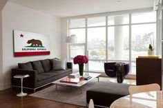 California wood flag hanging in living room.
