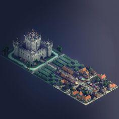 Medieval town - Voxel art on Behance