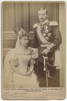 Wedding photo of Princess Victoria Melita (1876--1936), 2nd daughter of Prince Alfred, Duke of Edinburgh, and her 1st husband, Grand Duke Ernst Ludwig of Hesse and by Rhine.  The marriage was not a happy one but the couple dared not divorce until after the death of their match maker and mutual grandmother, Queen Victoria.