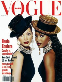 Christy Turlington photographiée par Max Vadukul en couverture du numéro de mars 1992 de Vogue Paris