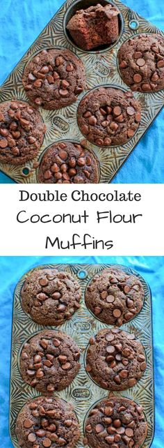 Double Chocolate Coconut Flour Muffins - naturally sweetened with no added sugar, and a paleo friendly snack.