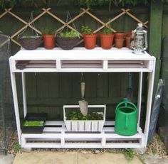 Learn how to UPCYCLE PALLETS into 20 DIY garden projects. Free tutorials, videos + safety tips for reusing wooden pallets. Planters, potting benches & more. Pallet Potting Bench, Pallet Crates, Wooden Pallets, Pallet Tables, Potting Soil, Wooden Crate Shelves, Diy Wooden Crate, Pallet Shelves, Palette Deco