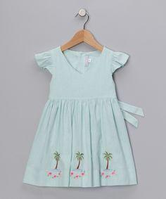 Blue Linen Palm Tree Dress