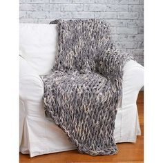 Bernat Arm Knit 3-Hour Blanket  Free Beginner Home Afghan Arm Knit, Knit Pattern