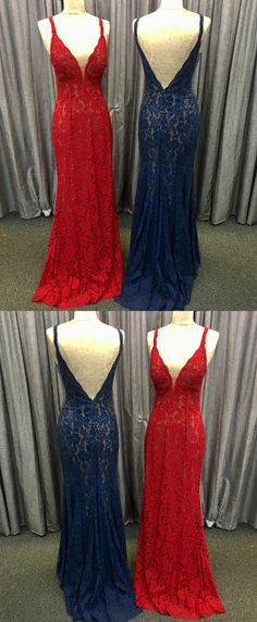 modest red lace mermaid prom dresses, simple navy blue backless party dresses, elegant deep v neck sweep train evening gowns Red Lace Prom Dress, Mermaid Prom Dresses Lace, Open Back Prom Dresses, Prom Dresses 2018, Bridesmaid Dresses, Lace Mermaid, Party Dresses, Dresses Uk, Elegant Dresses