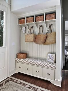 Contemporary Entryway with Pottery Barn Savannah Utility Basket, Ballard Design Beadboard Entryway Cabinets Set of 3