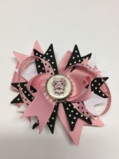 Boutique Minnie mouse inspired Hair Bow Clip by prettybowtique
