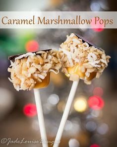 Caramel Marshmallow pops, a favorite holiday tradition. Enjoy the ooey gooey goodness of a Marshmallow pop dipped in caramel, rolled in a favorite crunchy cereal with coconut and then dipped in chocolate again! All on a stick! Great for holidays, Christmas, or gifts for neighbors! Or just let the kids eat them up.