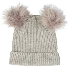 Accessorize Dani Double Pom Beanie Hat ($33) ❤ liked on Polyvore featuring accessories, hats, pom beanie, oversized hat, oversized beanie, pom pom hat and beanie hats