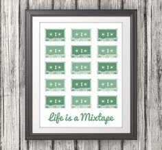 Life is a Mixtape Music Print Music Art Music by BentonParkPrints, $16.00