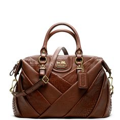 Coach Madison Diagonal Pleated Exotic Lindsey Satchel Coach