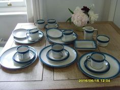 Beautiful WEDGEWOOD BLUE PACIFIC Oven To Table Ware China Plates,cups In Cowes