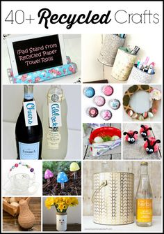 Get over 40 recycled crafts for Earth Day here!