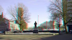 https://flic.kr/p/24bbaio | Oostplein Rotterdam 3D | anaglyph stereo red/cyan Boerengat  Admiraliteitskade