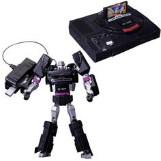 The evil leader of the Decepticons goes retro with his new disguise as the Sega Genesis Megatron, and he even comes with a game controller and a miniature Sega Genesis Sonic the Hedgehog cartridge.
