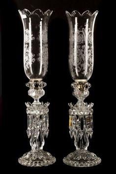Pair of Baccarat Crystal Candle Lustres, Marked : Lot 0024 Baccarat Crystal, Crystal Glassware, Waterford Crystal, All Things Crystal, Bohemia Crystal, Glass Chandelier, Chandeliers, Oil Candles, Antique Lamps