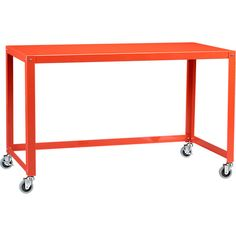 Go Cart Desk at CB2 for inexpensive downstairs tables. join multiples for large meetings - office